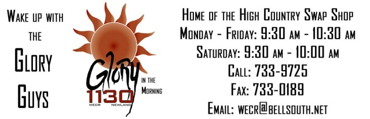 Glory in the Morning with the Glory Guys, each morning from Sign on until 9:30
